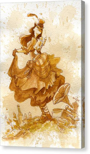 Steampunk Canvas Print - Happiness by Brian Kesinger