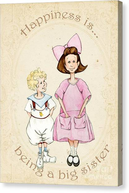 Big Sister Canvas Print - Happiness Is Being A Big Sister by Cindy Garber Iverson