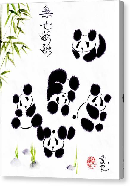 Panda Canvas Print - Happiness Is Getting Along by Oiyee At Oystudio