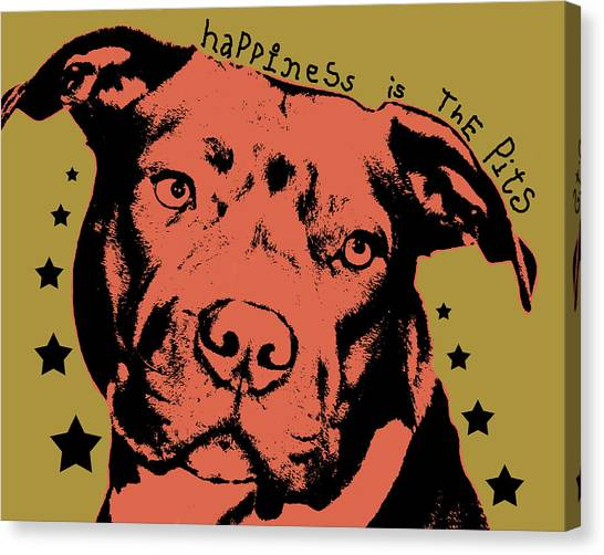 Pit Bull Canvas Print - Happiness Is The Pits Duo Tone by Dean Russo Art