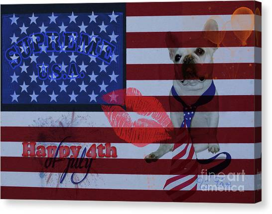 French Bull Dogs Canvas Print - Happy 4th Of July by To-Tam Gerwe