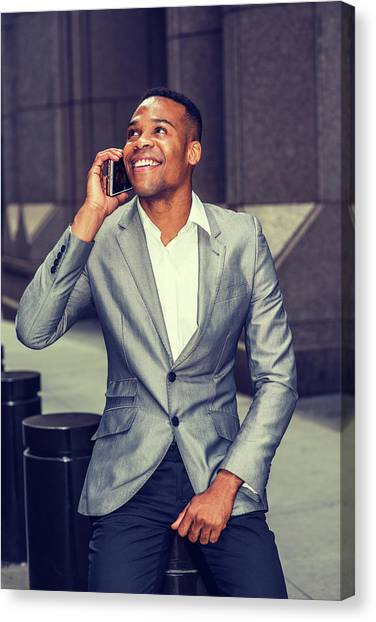 Happy African American Businessman Working In New York 15082323 Canvas Print