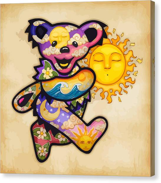 Tie-dye Canvas Print - Happy Bear And Sun by The Bear