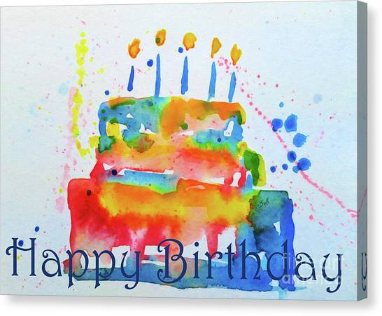 Canvas Print featuring the painting Happy Birthday Blue Cake  by Claire Bull