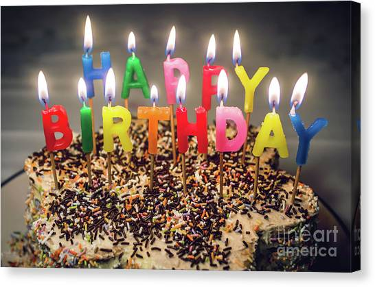 Happy Birthday Canvas Print - Happy Birthday Candles by Carlos Caetano