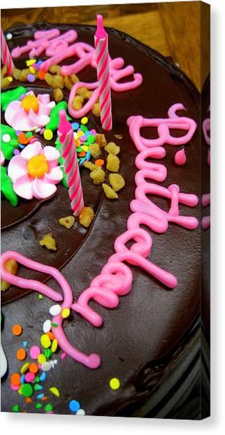 Happy Birthday Chocolate Cake Canvas Print