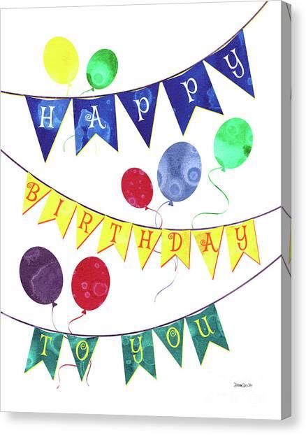 Happy Birthday Canvas Print - Happy Birthday Flag by Debbie DeWitt