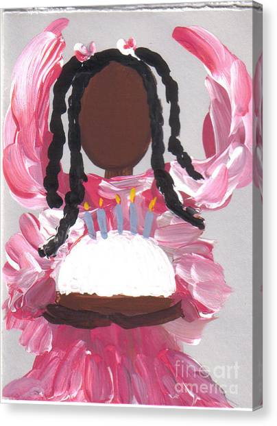 Happy Birthday From The Cake Angel Canvas Print by Roz Roy