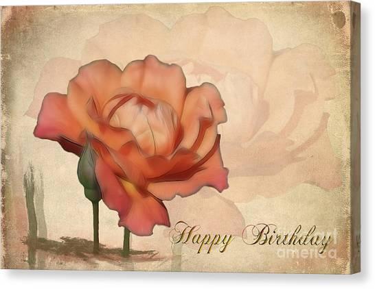 Happy Birthday Canvas Print - Happy Birthday Peach Rose Card by Teresa Zieba