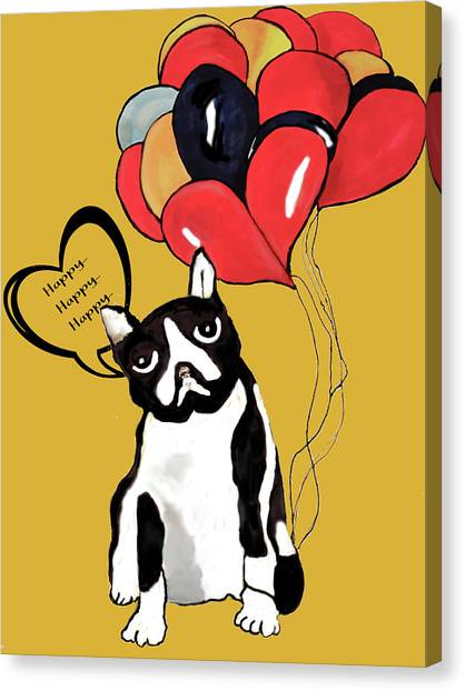 English Bull Dogs Canvas Print - Happy Birthday by Theresa Reagan