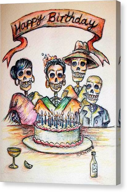 Happy Birthday Canvas Print - Happy Birthday Woman Skull by Heather Calderon