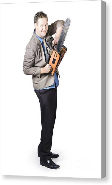Chainsaw Canvas Print - Happy Businessman Holding Chainsaw by Jorgo Photography - Wall Art Gallery