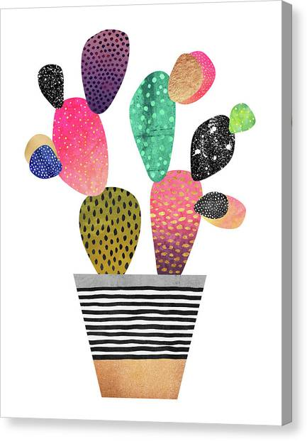 Cactus Canvas Print - Happy Cactus by Elisabeth Fredriksson