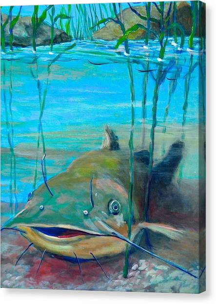 Canvas Print featuring the painting Happy Catfish by Jeanette Jarmon