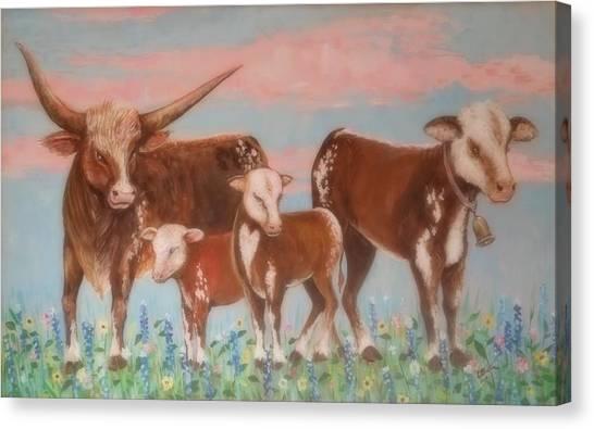Lynn Burton Canvas Print - Happy Cows by Lynn Burton