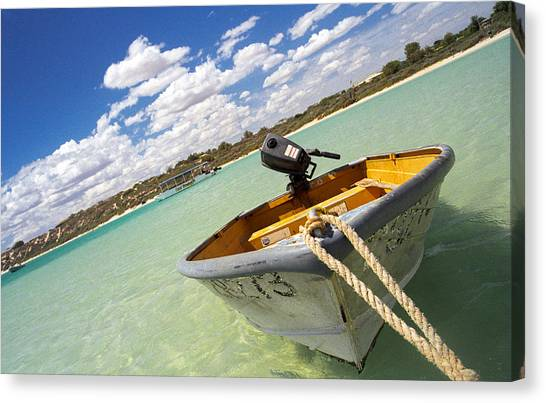 Canvas Print featuring the photograph Happy Dinghy by T Brian Jones
