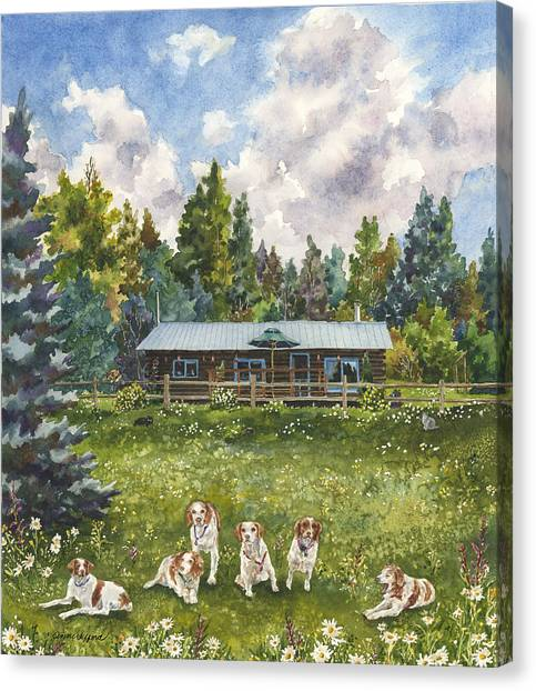 Mountain Cabin Canvas Print - Happy Dogs by Anne Gifford