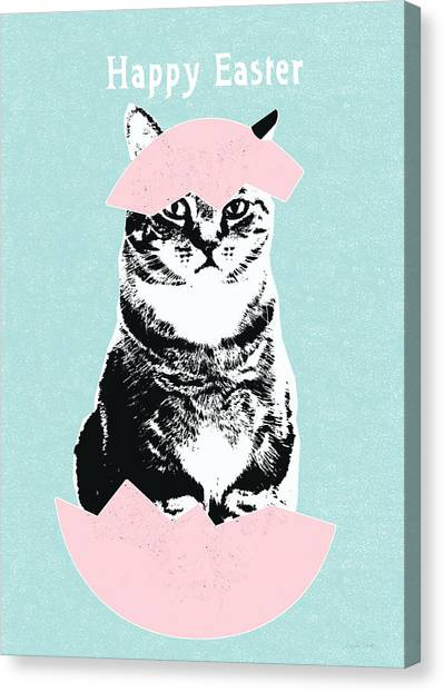 Collage Canvas Print - Happy Easter Cat- Art By Linda Woods by Linda Woods