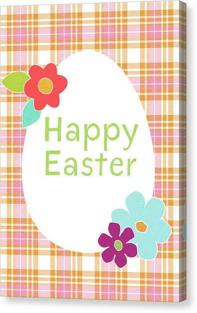 Easter Eggs Canvas Print - Happy Easter Egg Pink Plaid- Art By Linda Woods by Linda Woods