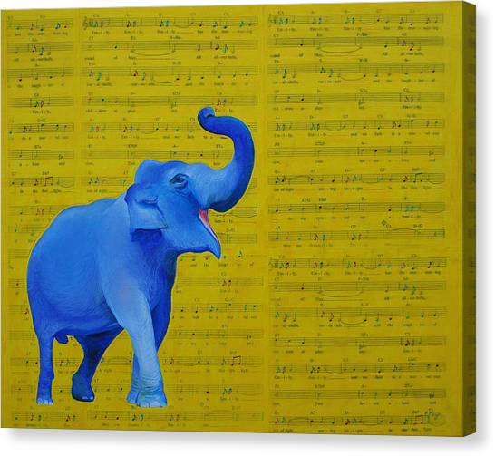 Happy Elephant Singing Emily Canvas Print