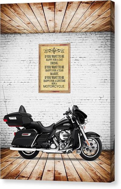 Motorcycle Canvas Print - Happy For A Day by Mark Rogan