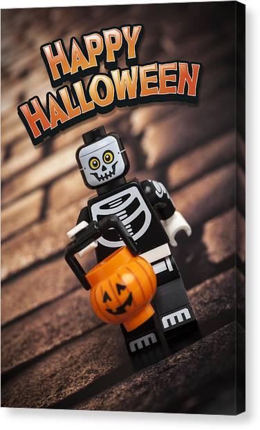 Greeting Canvas Print - Happy Halloween by Samuel Whitton