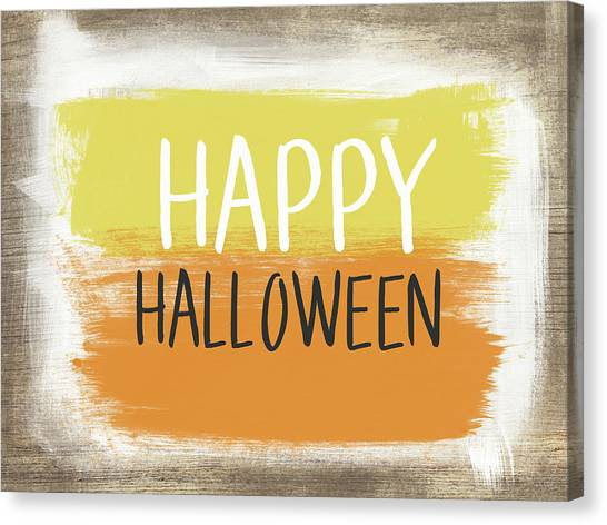 Halloween Canvas Print - Happy Halloween Sign- Art By Linda Woods by Linda Woods