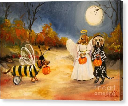 Happy Halloweenies Dachshund Art Canvas Print by Stella Violano