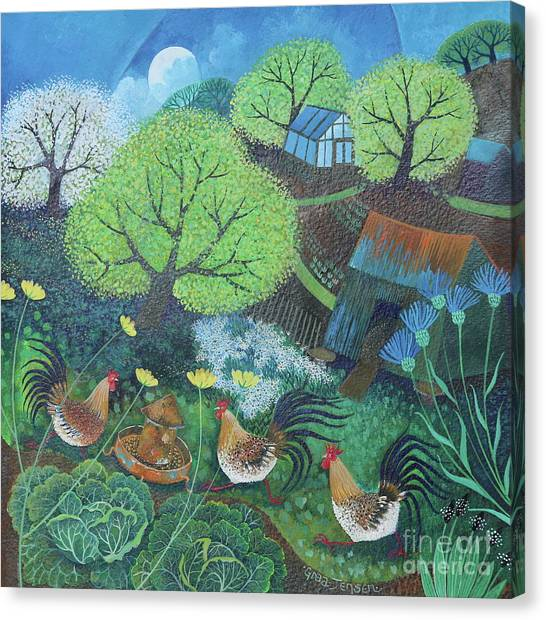 Chicken Farms Canvas Print - Happy Hens by Lisa Graa Jensen