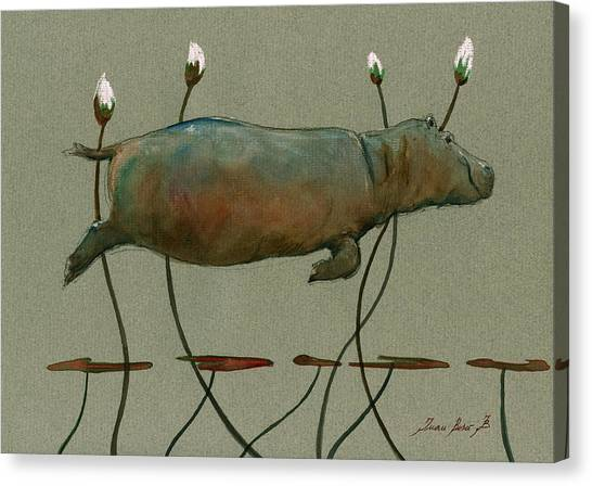 Hippos Canvas Print - Happy Hippo Swimming by Juan  Bosco
