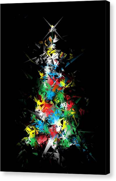 Happy Holidays - Abstract Tree - Vertical Canvas Print