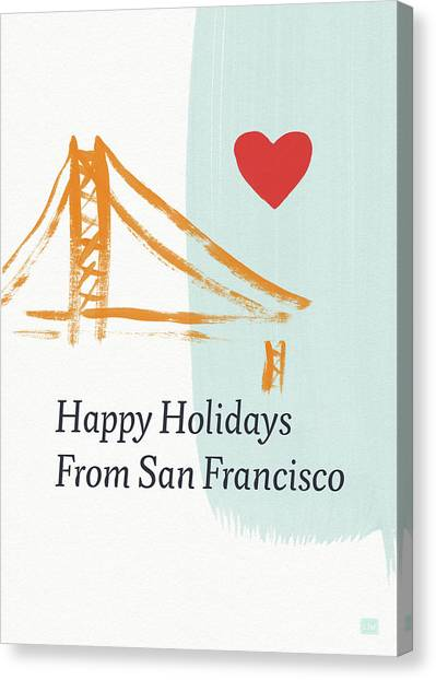 Religious Art Canvas Print - Happy Holidays San Francisco- Art By Linda Woods by Linda Woods