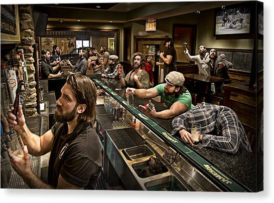 Bartender Canvas Print - Happy Hour by Anthony Benussi