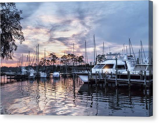 Happy Hour Sunset At Bluewater Bay Marina, Florida Canvas Print