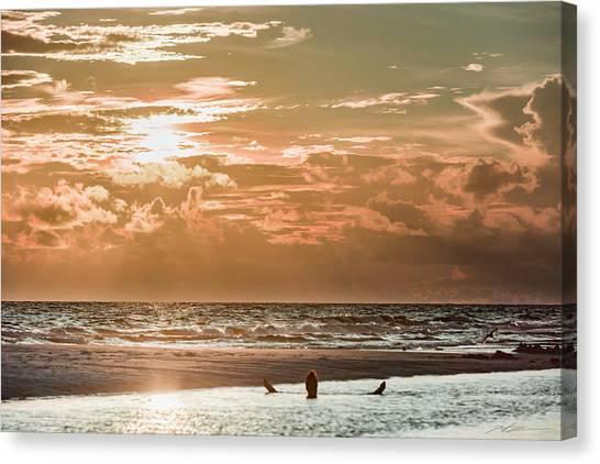 Happy Hour Sunset On The Beach Canvas Print