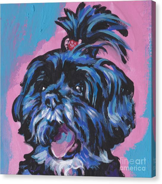 Shih Tzus Canvas Print - Happy Little Shihtzy by Lea S