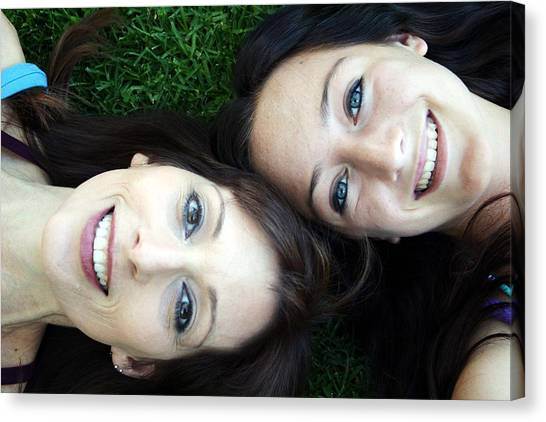 Health Care Canvas Print - Happy Mom And Daughter by Linda Woods
