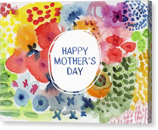 Mom Canvas Print - Happy Mothers Day Watercolor Garden- Art By Linda Woods by Linda Woods