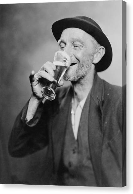 History Canvas Print - Happy Old Man Drinking Glass Of Beer by Everett