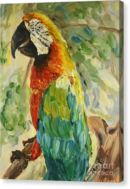 Canvas Print featuring the painting Happy Parrot by Maria Langgle