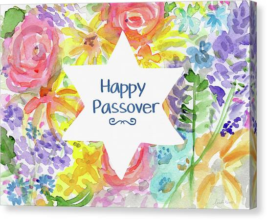 Easter Canvas Print - Happy Passover Floral- Art By Linda Woods by Linda Woods