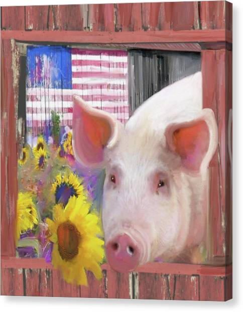 Happy Pig  Canvas Print