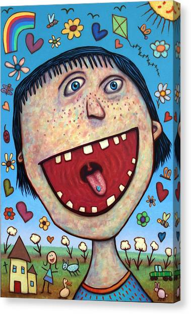 Heart Canvas Print - Happy Pill by James W Johnson
