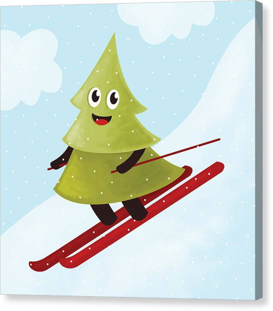 Happy Pine Tree On Ski Canvas Print