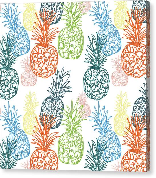 Pineapples Canvas Print - Happy Pineapple- Art By Linda Woods by Linda Woods