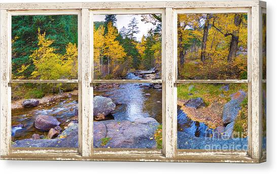 Happy Place Picture Window Frame Photo Fine Art Canvas Print