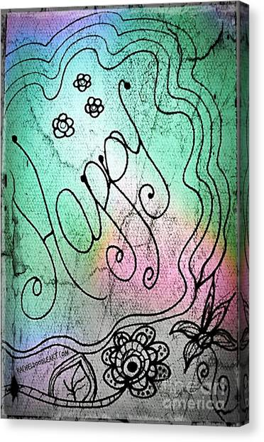 Canvas Print featuring the drawing Happy by Rachel Maynard