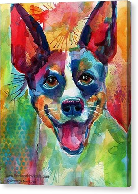 Watercolor Canvas Print - Happy Rat Terrier Watercolor Portrait by Svetlana Novikova