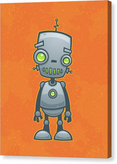 Droid Canvas Print - Happy Robot by John Schwegel