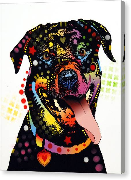 Rottweilers Canvas Print - Happy Rottweiler by Dean Russo Art
